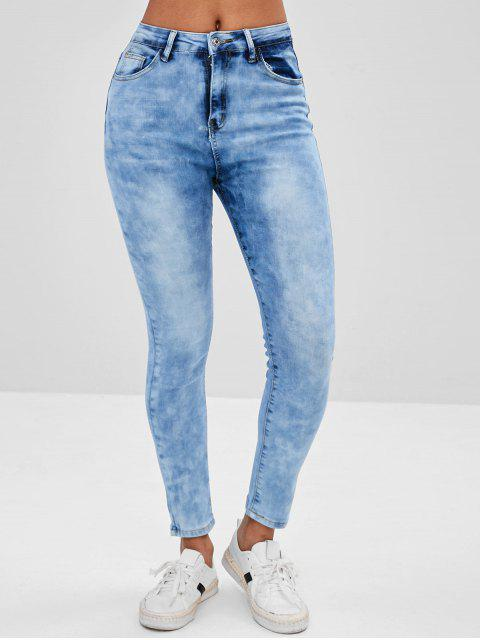 fashion Bleached Skinny Jeans - JEANS BLUE L Mobile
