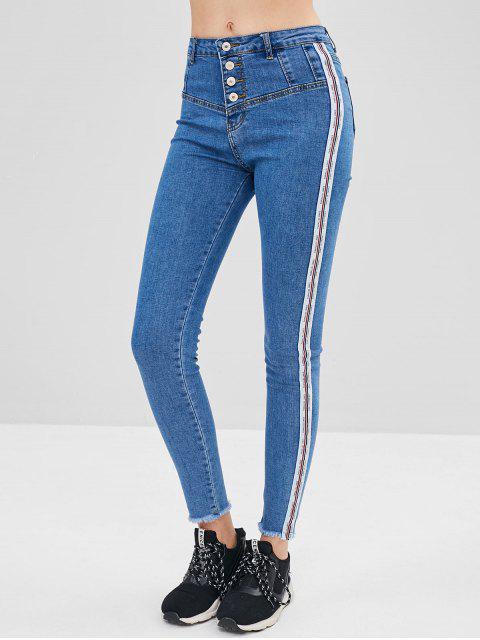 unique Striped Patch Button Fly Jeans - BLUE XL Mobile
