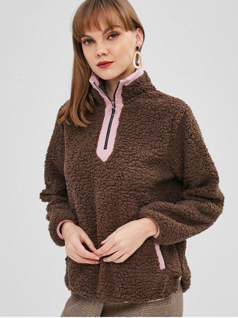 fancy Half Zip Pockets Faux Fur Sweatshirt - DARK KHAKI XL Mobile