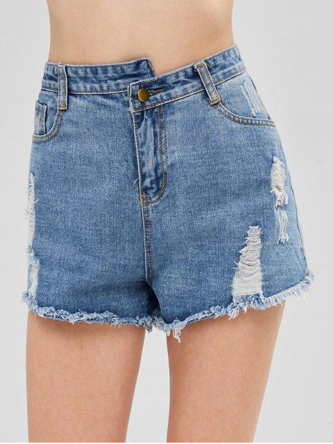 women Distressed Cuff Off Jean Shorts - JEANS BLUE XL Mobile