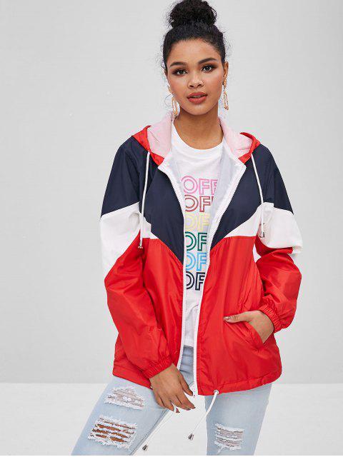 Manteau à Capuche en Blocs de Couleurs à Cordon - Multi XL Mobile