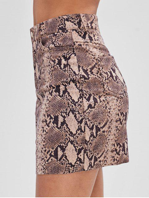 hot Snakeskin Print Suede Skirt - MULTI L Mobile