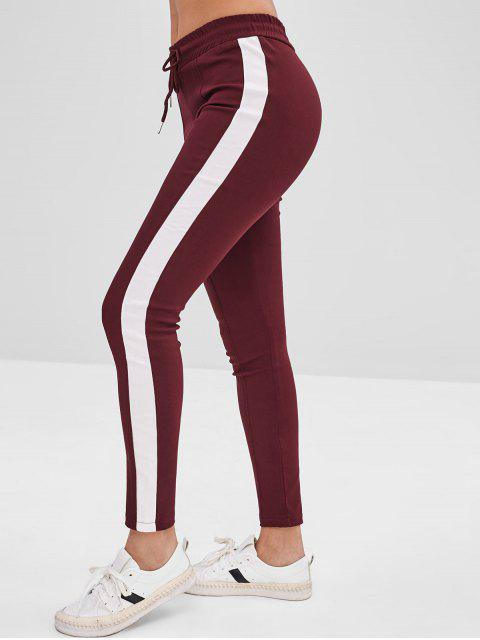 trendy Contrasting Sides Drawstring Pants - RED WINE M Mobile