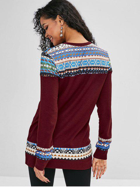 グラフィックルーズロングラインセーター - 赤ワイン M Mobile