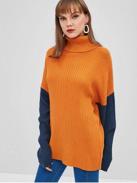 hot Color Block Turtleneck Longline Sweater - SANDY BROWN L Mobile