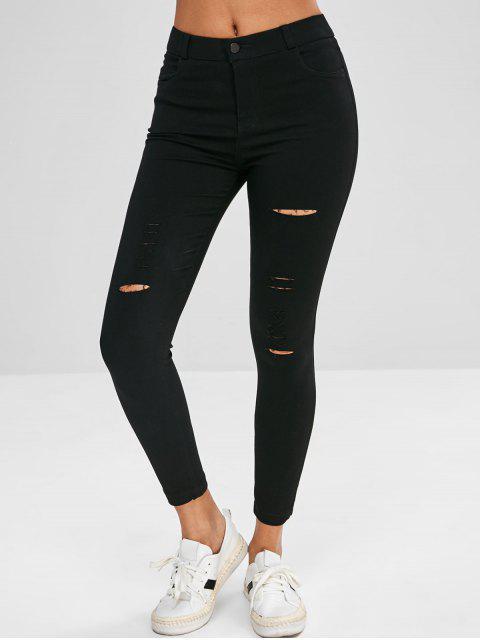 shops Skinny Ripped Pants - BLACK XL Mobile