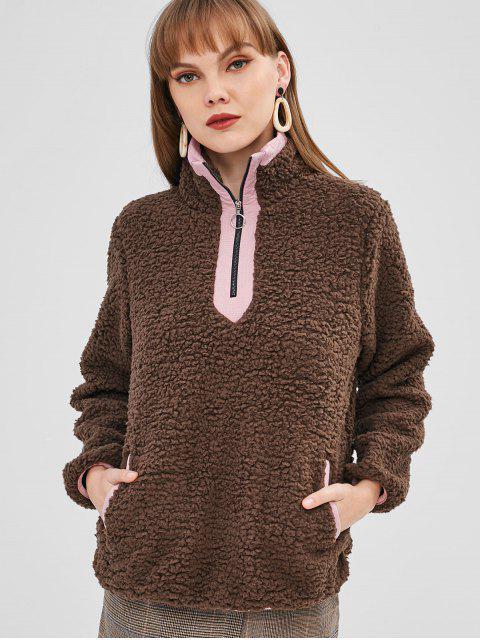 Sweat-shirt à Demi-zip en Fausse Fourrure avec Poches - Kaki Foncé S Mobile
