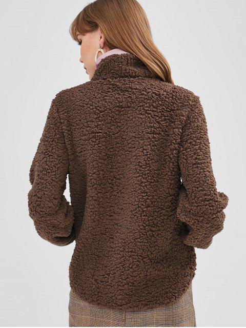 outfits Half Zip Pockets Faux Fur Sweatshirt - DARK KHAKI L Mobile
