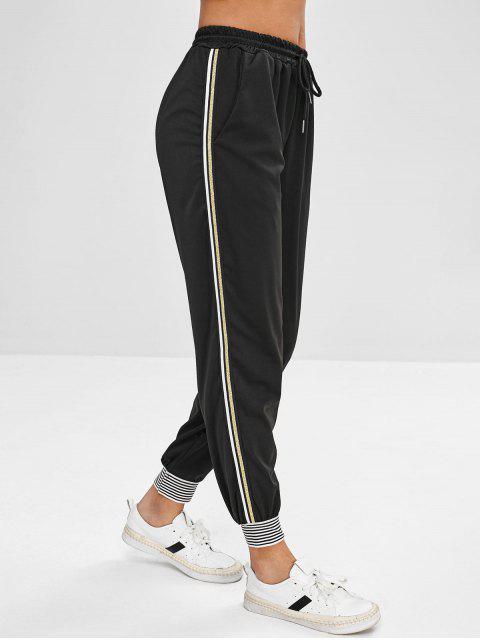 affordable Stripe Trim Drawstring Jogger Pants - BLACK L Mobile