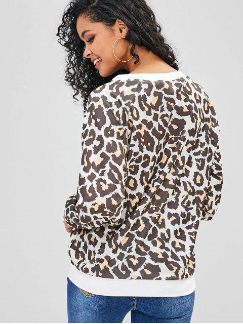 Sweat-shirt Léopard Imprimé à Manches Raglan - Léopard M Mobile