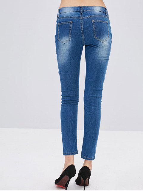 unique Ripped Butterflies Embroidered Skinny Jeans - DENIM BLUE M Mobile