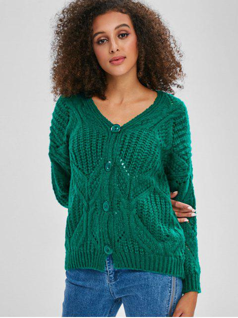 lady V Neck Button Up Chunky Cardigan - GREEN ONE SIZE Mobile
