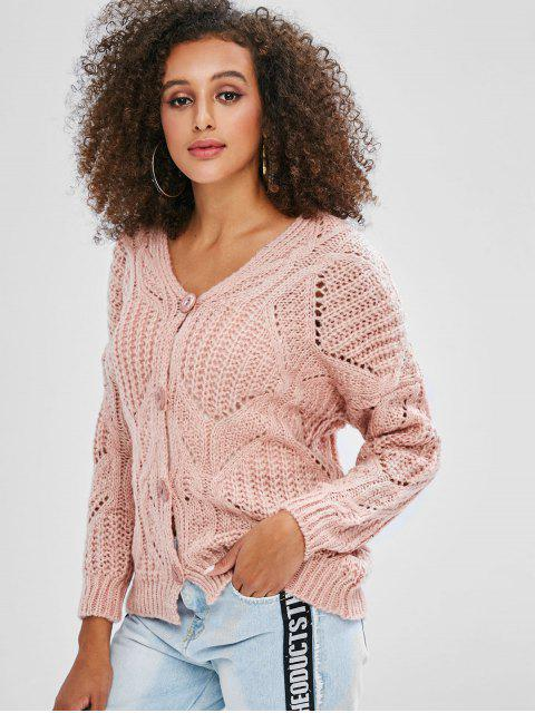 affordable V Neck Button Up Chunky Cardigan - PINK ONE SIZE Mobile