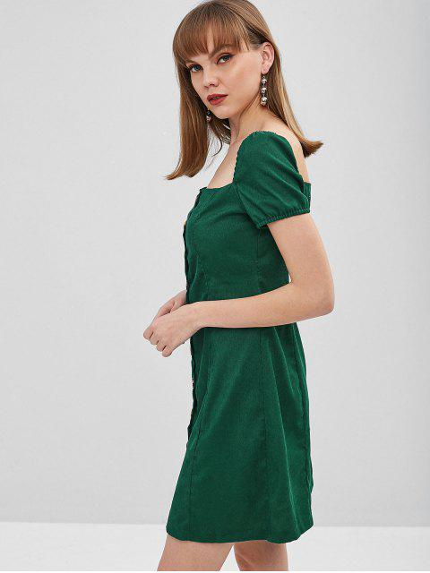 Robe en velours côtelé à boutons carrés - Vert Mer Moyen XL Mobile
