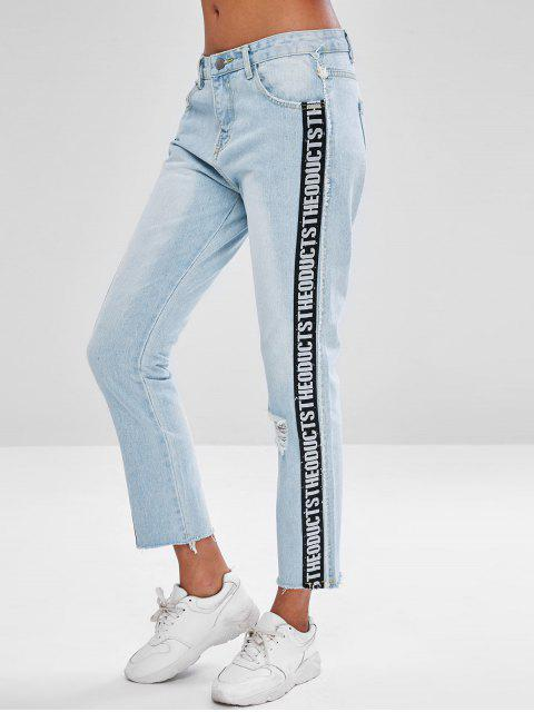fashion Letter Patch Ripped Faded Jeans - JEANS BLUE M Mobile