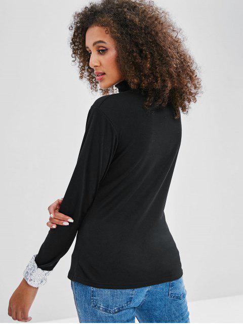 T-shirt Maigre à Manches avec Rebords à Paillettes - Noir XL Mobile