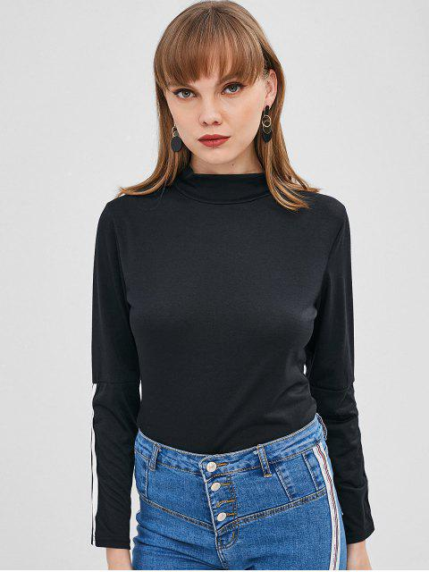 shop Striped Sleeve High Neck Tee - BLACK XL Mobile