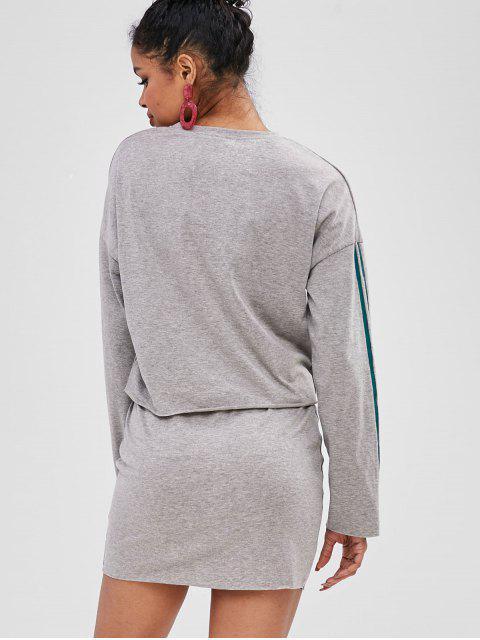 Lettre Top Graphic Stripes Top Et Jupe Set - Nuage Gris M Mobile