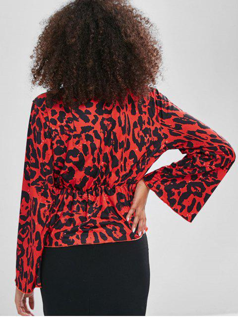 womens Long Sleeve Leopard Plunge Tee - RED S Mobile