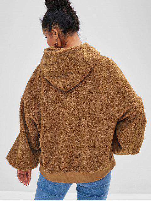 Sweat à capuche en peluche moelleux à manches raglan - Caramel Taille Unique Mobile