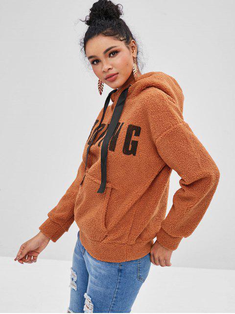 Sweat à capuche moelleux avec lettre aux épaules et à l'épaule - Saumon Orange L Mobile