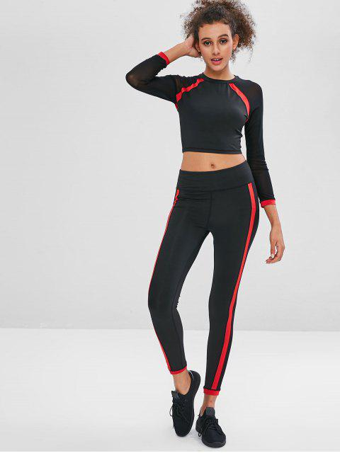 Mesh Panel Sport T-Shirt und Leggings Set - Schwarz S Mobile