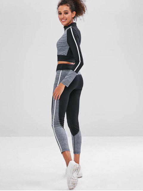 Zip Colorblock Gym Top und Leggings Set - Dunkelgrau L Mobile