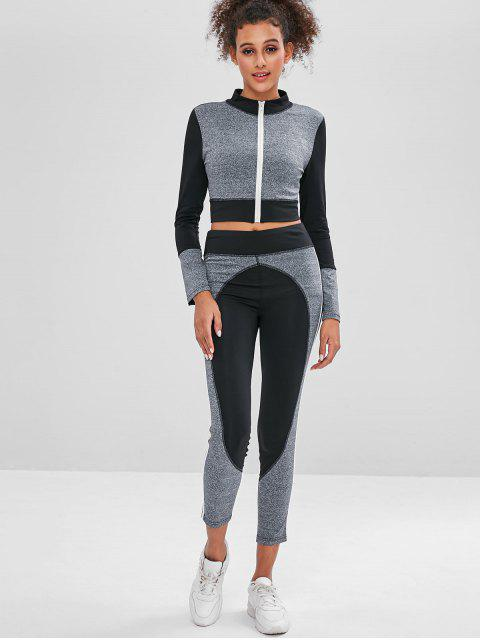 outfit Zip Colorblock Gym Top and Leggings Set - DARK GRAY L Mobile