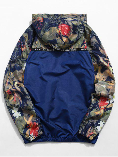 online Floral Printed Patchwork Hooded Jacket - MIDNIGHT BLUE XL Mobile