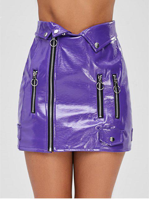 shop Zipper PU Leather Skirt - PURPLE M Mobile