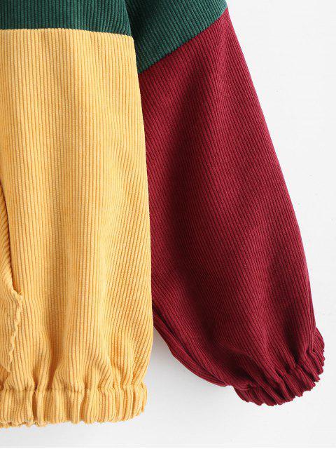 women ZAFUL Zipper Pullover Corduroy Contrast Hoodie - MEDIUM AQUAMARINE 2XL Mobile