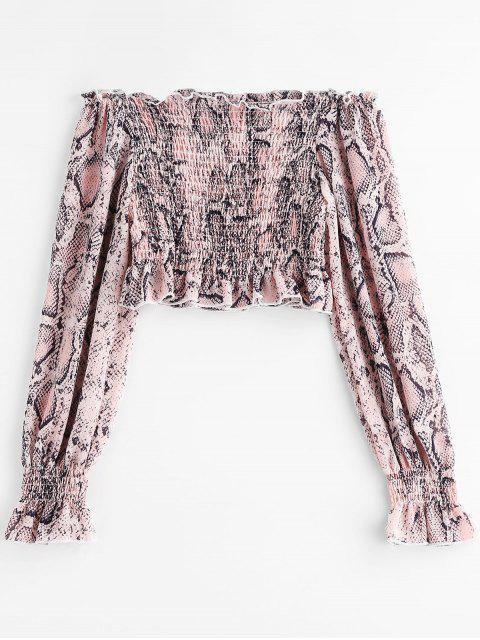lady ZAFUL Off Shoulder Snakeskin Print Crop Blouse - PINK ROSE S Mobile