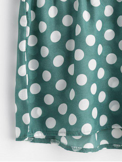 shop ZAFUL Twist Front Polka Dot Top and Shorts Set - PINE GREEN M Mobile