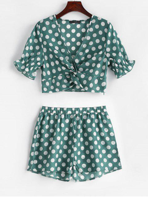 outfits ZAFUL Twist Front Polka Dot Top and Shorts Set - PINE GREEN S Mobile