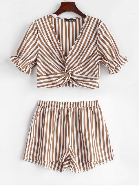 womens ZAFUL Twist Front Crop Striped Shorts Set - COFFEE XL Mobile