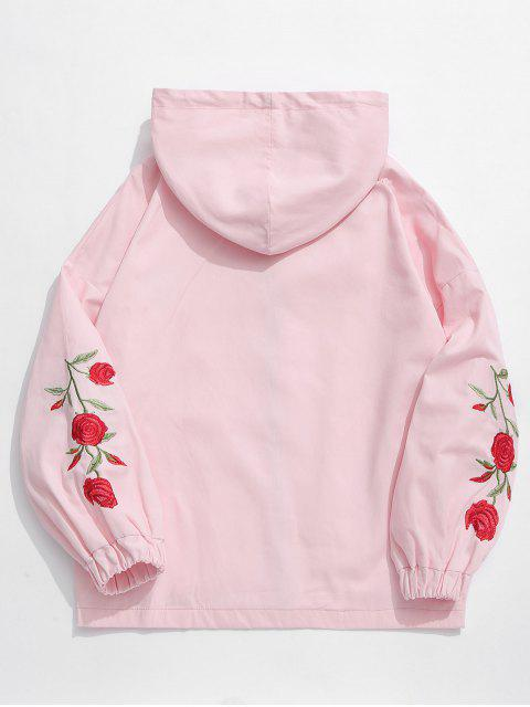 shops Zip Fly Flower Embroidery Hooded Jacket - PINK 2XL Mobile