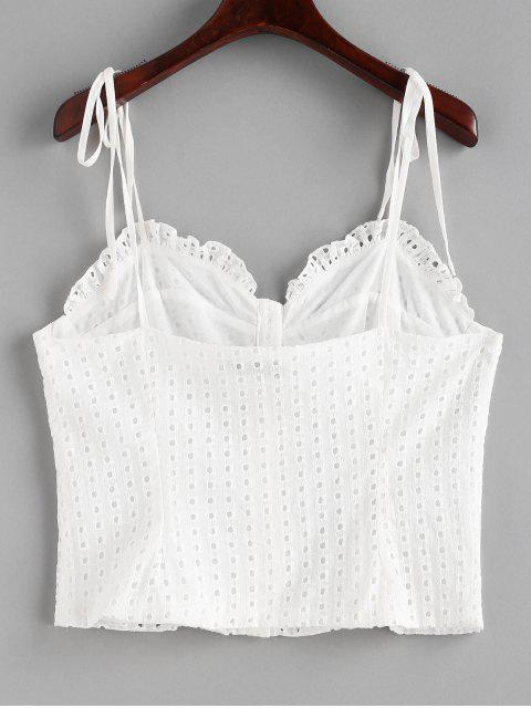 shops Button Up Eyelet Cami Top - WHITE M Mobile