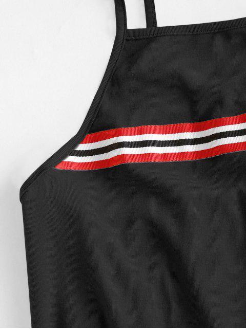 best Cami Stripes Mini Dress - BLACK M Mobile