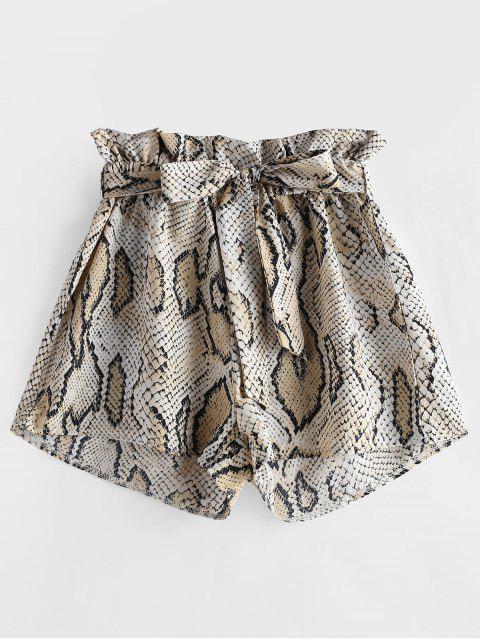 online ZAFUL Snakeskin Print Wide Leg Belted Shorts - MULTI S Mobile