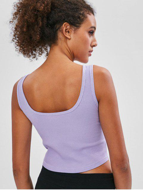 ladies Ribbed Scoop Crop Tank Top - LAVENDER BLUE L Mobile
