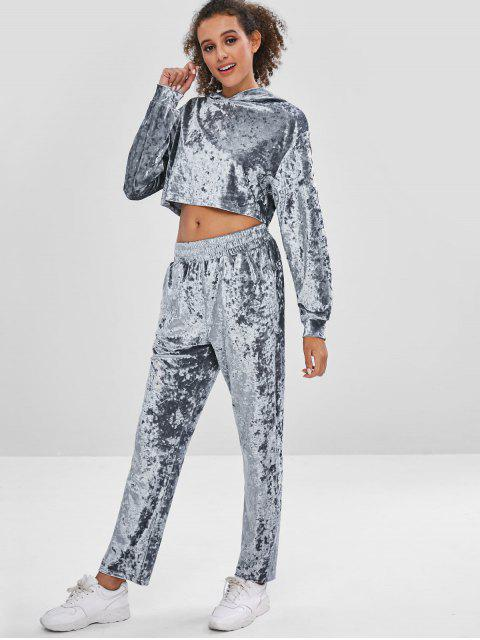 latest Velvet Gym Hoodie and Pants Set - BLUE GRAY L Mobile