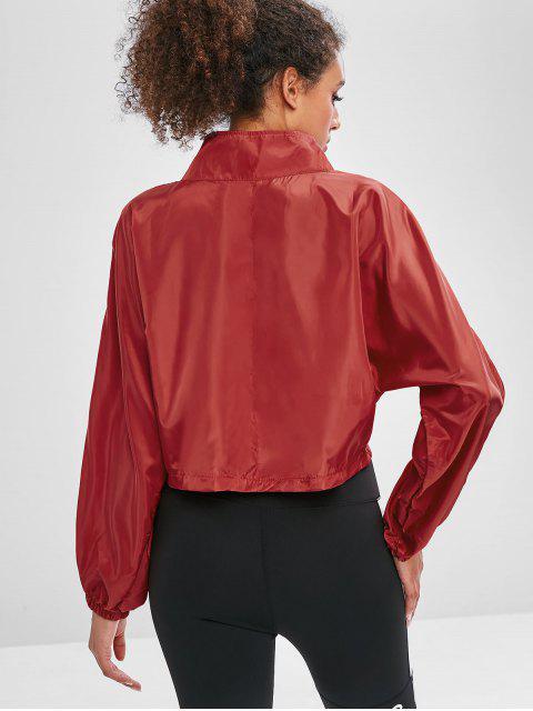 Batwing-Pullover mit halbem Reißverschluss - Kastanie Rot L Mobile