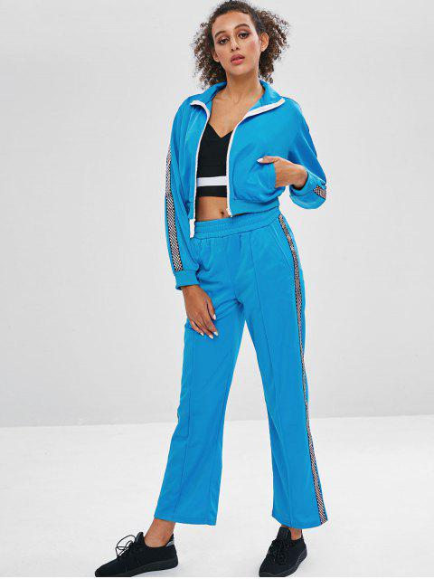 new Jacket and Wide Leg Pants Tracksuit - DEEP SKY BLUE M Mobile