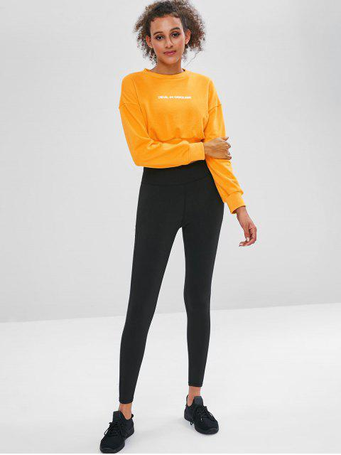 Grafik - Terry - Kurzes Pullover-Sweatshirt - Helles Gelb L Mobile