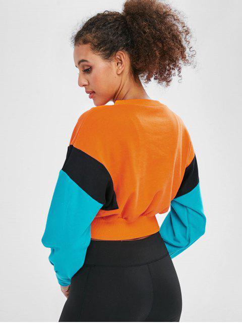 Dreifarbiges Terry-Sweatshirt mit Farbblock - Orange M Mobile