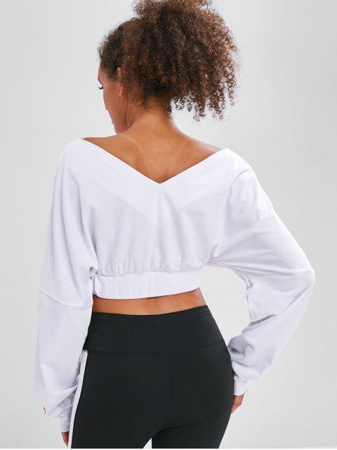 Kurzes Sweatshirt mit doppeltem V-Ausschnitt - Weiß M Mobile