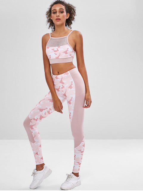 ladies Camo Paneled Sports Bra and Leggings Sweat Suit - ACU CAMOUFLAGE M Mobile