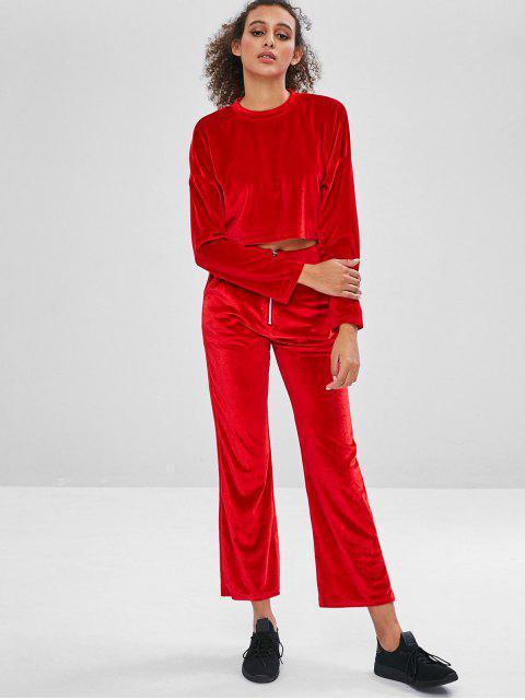 best Velvet Crop Top and Wide Leg Pants Sweat Suit - RED M Mobile