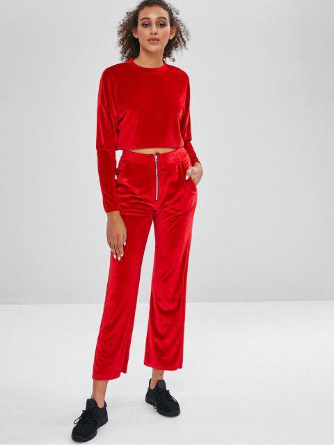 Sweat-Anzug mit Samt-Oberteil und weitem Bein - Rot L Mobile