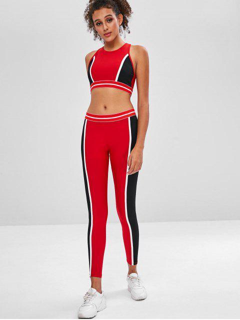 Color Block Sujetador Deportivo y Leggings Sweat Suit - Rojo M Mobile